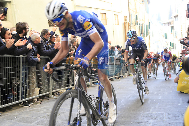 Pieter Serry (Bel) Deceuninck-QuickStep and Geraint Thomas (WAL) Team Sky climb Via Santa Caterina in Siena in the last km of Strade Bianche 2019 running 184km from Siena to Siena, held over the white gravel roads of Tuscany, Italy. 9th March 2019.<br /> Picture: Eoin Clarke | Cyclefile<br /> <br /> <br /> All photos usage must carry mandatory copyright credit (© Cyclefile | Eoin Clarke)