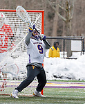 University at Albany Men's Lacrosse defeats Cornell 11-9 on Mar 4 at Casey Stadium.  J.D. Colarusso (#9).