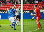 Rosenborg v St Johnstone....18.07.13  UEFA Europa League Qualifier.<br /> Frazer Wright celebrates his goal<br /> Picture by Graeme Hart.<br /> Copyright Perthshire Picture Agency<br /> Tel: 01738 623350  Mobile: 07990 594431