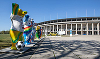 23rd April 2020, Berlin Germany: The 'Buddy Statues' stand silent due to the lock-down for corona virus at German Bundesliga grounds
