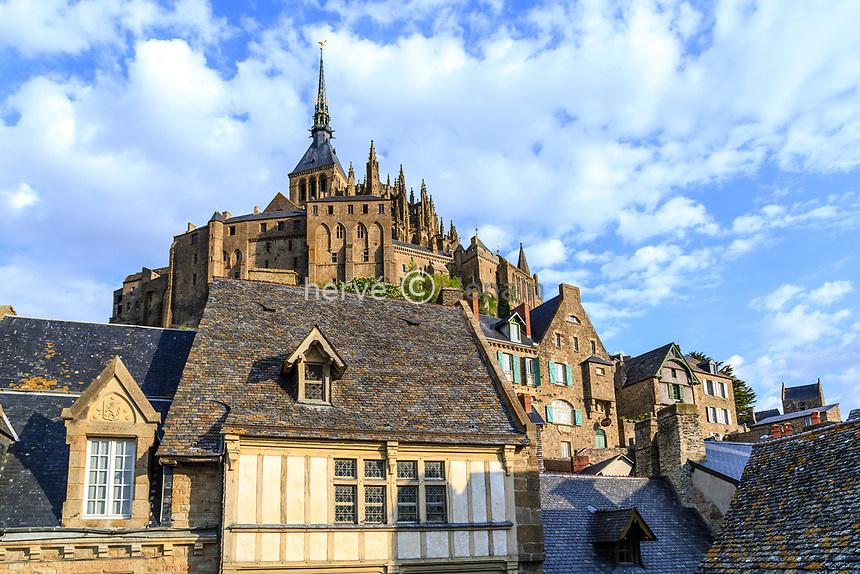 France, Manche (50), Baie du Mont Saint-Michel classée Patrimoine Mondial de l'UNESCO, le Mont Saint-Michel, vue depuis les remparts // France, Manche, Mont Saint Michel Bay, listed as World Heritage by UNESCO, Mont Saint Michel, view from ramparts