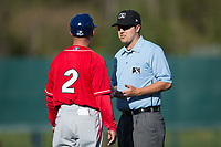 Umpire Mike Rains explains a call to Lakewood BlueClaws manager Marty Malloy (2) during the game against the Kannapolis Intimidators at Kannapolis Intimidators Stadium on April 9, 2017 in Kannapolis, North Carolina.  The BlueClaws defeated the Intimidators 7-1.  (Brian Westerholt/Four Seam Images)