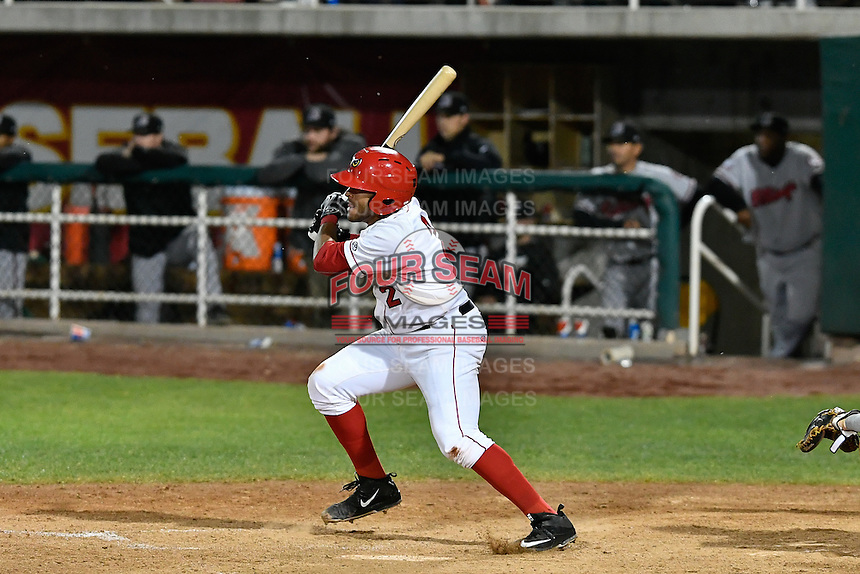Jose Rojas (2) of the Orem Owlz follows through on his swing against the Billings Mustangs in Game 2 of the Pioneer League Championship at Home of the Owlz on September 16, 2016 in Orem, Utah. Orem defeated Billings 3-2 and are the 2016 Pioneer League Champions.(Stephen Smith/Four Seam Images)