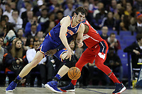 17th January 2019, The O2 Arena, London, England; NBA London Game, Washington Wizards versus New York Knicks; Luke Kornet of the New York Knicks, guarded by Jeff Green of the Washington Wizards