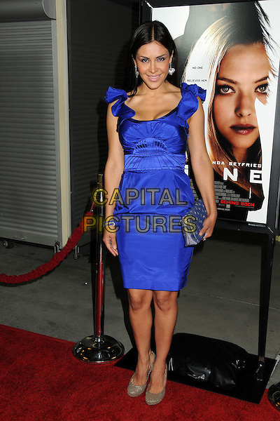 "Carla Ortiz.""Gone"" Los Angeles Premiere held at Arclight Cinemas, Hollywood, California, USA..February 21st, 2012.full length dress clutch bag blue purple ruffle .CAP/ADM/BP.©Byron Purvis/AdMedia/Capital Pictures."