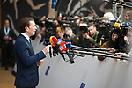 Brussels, Belgium -- March 22, 2018 -- European Council / Summit, meeting of Heads of State / Government at the Europa building - seat of the European Council and Council of the European Union; here, Sebastian KURZ , Federal Chancellor of Austria -- Photo: © HorstWagner.eu