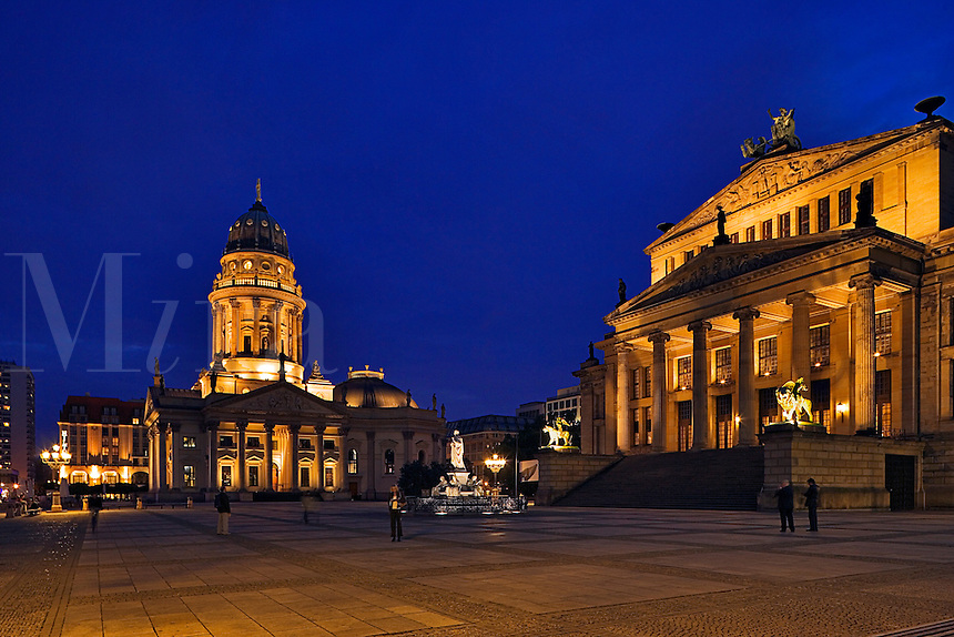 Berlin, Germany. Gendarmenmarkt.  Schauspielhaus and Deutsche Dom. Evening.