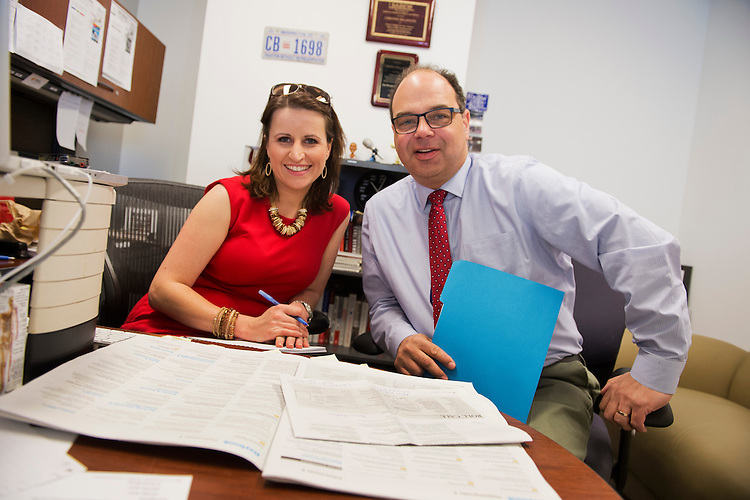 UNITED STATES - APRIL 23: Christina Bellantoni, Roll Call Editor-In-Chief, and David Ellis, CQ Roll Call Vice President of News, confer in the company's Washington office. (Photo By Tom Williams/CQ Roll Call)