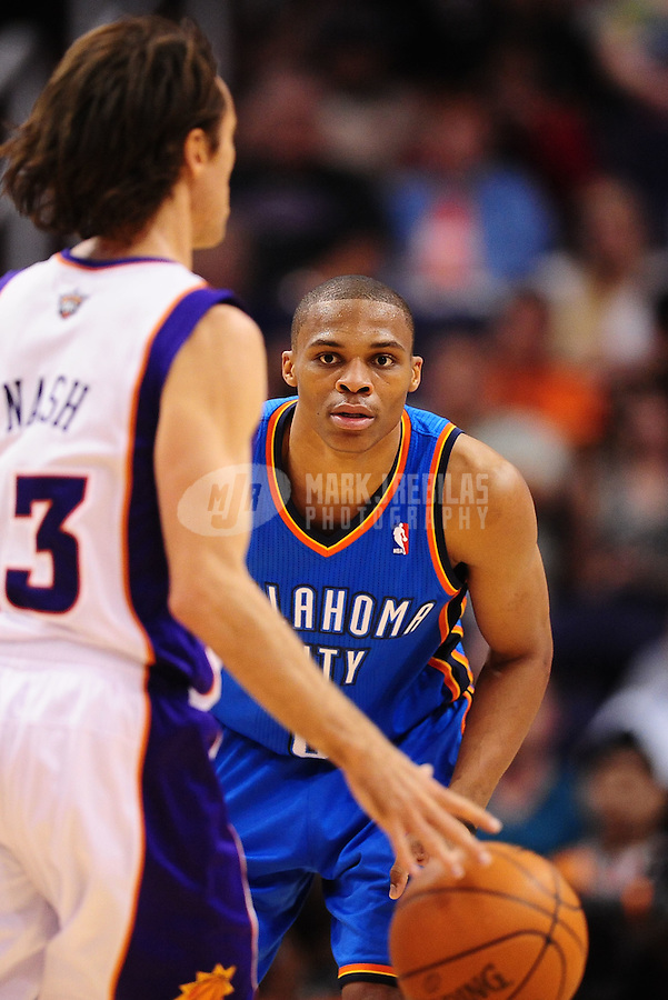 Mar. 30, 2011; Phoenix, AZ, USA; Oklahoma City Thunder guard (0) Russell Westbrook against the Phoenix Suns at the US Airways Center. Mandatory Credit: Mark J. Rebilas-