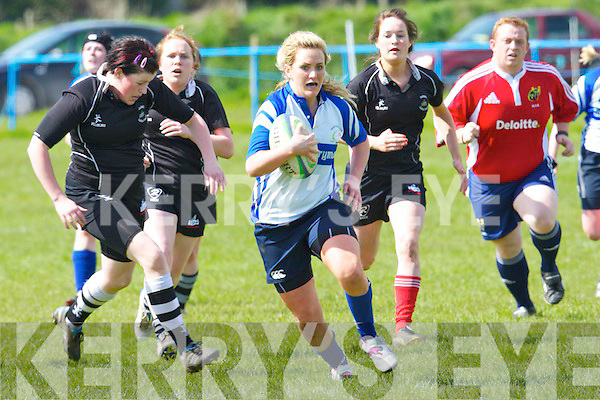 Christine Arthers gets in for a try against Gallbally in the women's all Ireland league at O'Dowd park, Tralee on Sunday.