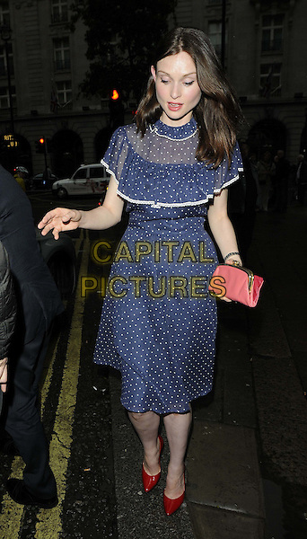 Sophie Ellis Bextor .The Audi Digital Store launch party, Audi City, Piccadilly, London, England..July 16th, 2012.full length blue dress white polka dot red shoes  pink clutch bag .CAP/CAN.©Can Nguyen/Capital Pictures.
