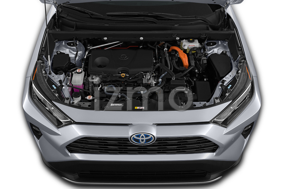 Car stock 2019 Toyota RAV4 Limited 5 Door SUV engine high angle detail view