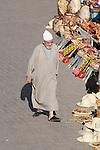 A man walks through the Souk in Marrakesh, Morocco.