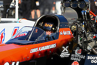 May 16, 2014; Commerce, GA, USA; NHRA top fuel dragster driver Chris Karamesines during qualifying for the Southern Nationals at Atlanta Dragway. Mandatory Credit: Mark J. Rebilas-USA TODAY Sports