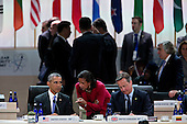 United States President Barack Obama, left, talks to Susan Rice, U.S. national security advisor, center, during a closing session with David Cameron, U.K. prime minister, right, at the Nuclear Security Summit in Washington, D.C., U.S., on Friday, April 1, 2016. After a spate of terrorist attacks from Europe to Africa, Obama is rallying international support during the summit for an effort to keep Islamic State and similar groups from obtaining nuclear material and other weapons of mass destruction. <br /> Credit: Andrew Harrer / Pool via CNP