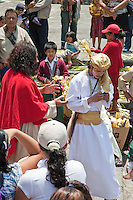 The Rich Man Leaves, Disconsolately, after Jesus Tells him to Give Away his Riches to the Poor.  (Luke 18: 18-24; Matthew 19:20.)   Palm Sunday Re-enactment of events in the life of Jesus, by the group called Luna LLena (Full Moon), a group of volunteers in Antigua, Guatemala.