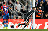 3rd November 2019; Selhurst Park, London, England; English Premier League Football, Crystal Palace versus Leicester City; Jamie Vardy of Leicester City celebrates as he scores for 0-2 in the 88th minute - Strictly Editorial Use Only. No use with unauthorized audio, video, data, fixture lists, club/league logos or 'live' services. Online in-match use limited to 120 images, no video emulation. No use in betting, games or single club/league/player publications