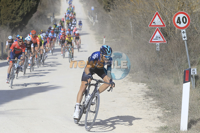 The peloton led by Diego Rosa (ITA) Team Sky on sector 2 Bagnaia during Strade Bianche 2019 running 184km from Siena to Siena, held over the white gravel roads of Tuscany, Italy. 9th March 2019.<br /> Picture: Eoin Clarke | Cyclefile<br /> <br /> <br /> All photos usage must carry mandatory copyright credit (© Cyclefile | Eoin Clarke)