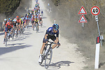 The peloton led by Diego Rosa (ITA) Team Sky on sector 2 Bagnaia during Strade Bianche 2019 running 184km from Siena to Siena, held over the white gravel roads of Tuscany, Italy. 9th March 2019.<br /> Picture: Eoin Clarke | Cyclefile<br /> <br /> <br /> All photos usage must carry mandatory copyright credit (&copy; Cyclefile | Eoin Clarke)