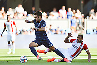 San Jose, CA - Saturday June 17, 2017: Benny Feilhaber, Anibal Godoy during a Major League Soccer (MLS) match between the San Jose Earthquakes and the Sporting Kansas City at Avaya Stadium.
