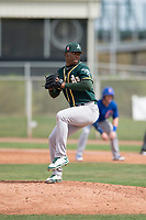 Oakland Athletics relief pitcher Miguel Romero (47) prepares to deliver a pitch during a Minor League Spring Training game against the Chicago Cubs at Sloan Park on March 13, 2018 in Mesa, Arizona. (Zachary Lucy/Four Seam Images)