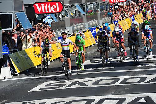 22.07.2012. Rambouillet to Paris, France.  Stage 20. Rambouillet - Paris, Team Sky 2012, Liquigas 2012, Cavendish Mark, Sagan Peter on the podium in Paris