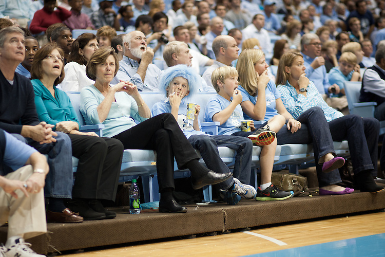 Court-side fans, UNC vs Mississippi Valley State at the Dean Smith Center, Chapel Hill, NC, Sunday, November 20, 2011. .