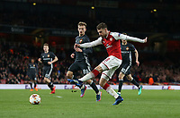 Arsenal's Aaron Ramsey with a second half shot<br /> <br /> Photographer Rob Newell/CameraSport<br /> <br /> UEFA Europa League Quarter-Final First Leg - Arsenal v CSKA Moscow - Thursday 5th April 2018 - The Emirates - London<br />  <br /> World Copyright &copy; 2018 CameraSport. All rights reserved. 43 Linden Ave. Countesthorpe. Leicester. England. LE8 5PG - Tel: +44 (0) 116 277 4147 - admin@camerasport.com - www.camerasport.com