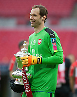 Goalkeeper Petr Cech of Arsenal with the FA Cup during the FA Cup Final match between Arsenal v Chelsea, Wembley stadium, London on 27th May 2017