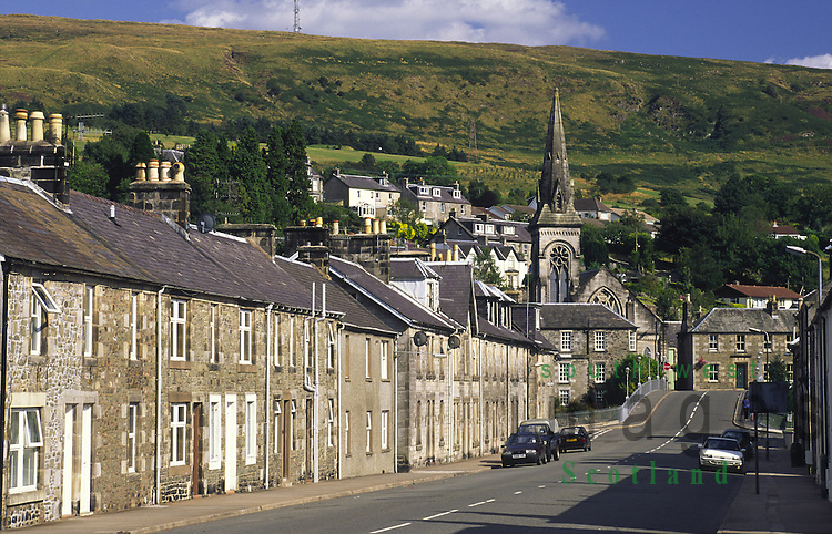 Langholm Buccleuch Square looking down to Thomas Telfords Bridge and the town centre Scotland UK