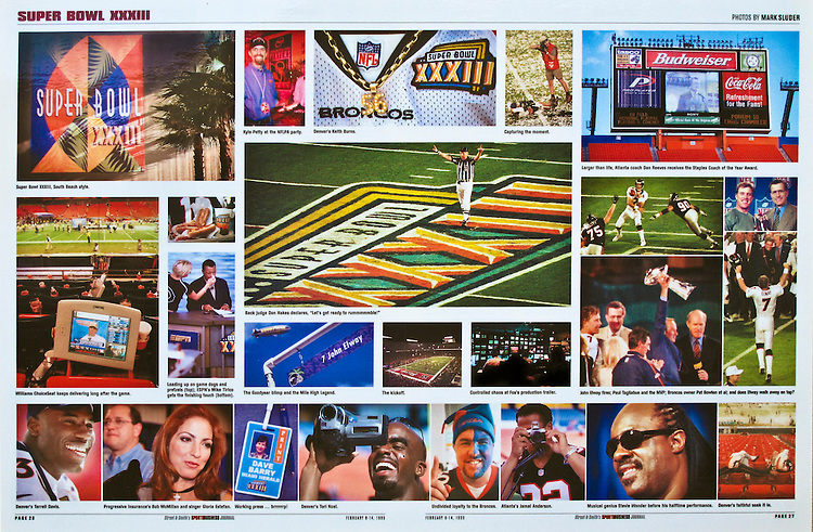Two page spread on Super Bowl XXXIII in Miami published in The SportsBusiness Journal. Words and Photographs by Mark Sluder