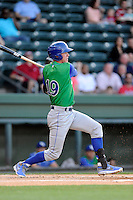 Left fielder Fred Ford (19) of the Lexington Legends bats in a game against the Greenville Drive on Thursday, April 24, 2014, at Fluor Field at the West End in Greenville, South Carolina. Greenville won, 9-4. (Tom Priddy/Four Seam Images)