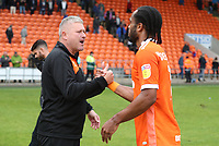 Blackpool's Nathan Delfouneso at the end of todays match with Blackpool's Manager Terry McPhillips<br /> <br /> Photographer Rachel Holborn/CameraSport<br /> <br /> The EFL Sky Bet League One - Blackpool v Bradford City - Saturday September 8th 2018 - Bloomfield Road - Blackpool<br /> <br /> World Copyright &copy; 2018 CameraSport. All rights reserved. 43 Linden Ave. Countesthorpe. Leicester. England. LE8 5PG - Tel: +44 (0) 116 277 4147 - admin@camerasport.com - www.camerasport.com
