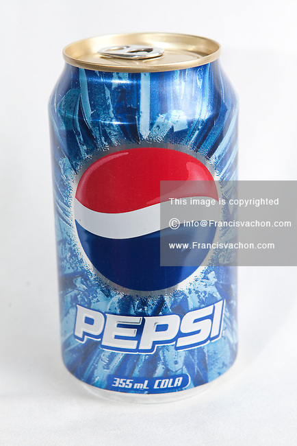 A Pepsi can over a white background
