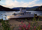 Boat along Yukon River in Dawson City