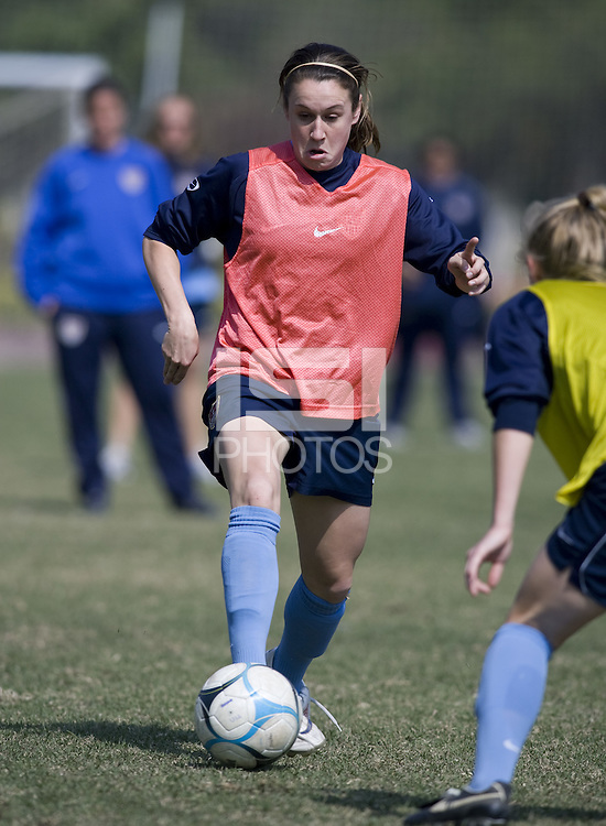 USA forward Heather O'Reilly takes on a defender during practice in preparation for the Four Nations Tournament in Guangzhou, China on January 15, 2008