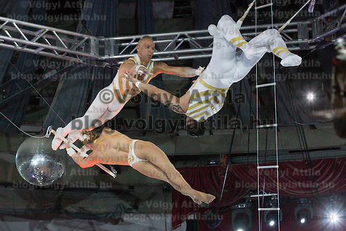 Artists of the Flying Farfans of USA perform in the new show titled Balance in Circus Budapest in Budapest, Hungary on October 04, 2015. ATTILA VOLGYI
