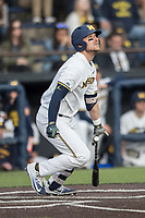 Michigan Wolverines catcher Harrison Wenson (7) follows through on his swing against the Michigan State Spartans during the NCAA baseball game on April 18, 2017 at Ray Fisher Stadium in Ann Arbor, Michigan. Michigan defeated Michigan State 12-4. (Andrew Woolley/Four Seam Images)