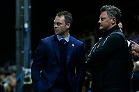 Newport County manager Michael Flynn and Wayne Hatswell prior to kick off of the Fly Emirates FA Cup Fourth Round match between Newport County and Tottenham Hotspur at Rodney Parade, Newport, Wales, UK. Saturday 27 January 2018