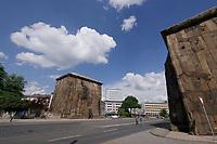 Kassel, Germany. Opening days of documenta14.<br /> Torwache.<br /> Ibrahim Mahama (Ghana): Check Point Sekondi Loco