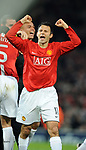 Manchester United's Ryan Giggs celebrates going to Moscow during the Champions League semi-final 2nd leg match at Old Trafford, Manchester. Picture date 29th April 2008. Picture credit should read: Simon Bellis/Sportimage