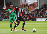 Leon Clarke of Sheffield Utd takes as hot on goal during the championship match at the Bramall Lane Stadium, Sheffield. Picture date 28th April 2018. Picture credit should read: Simon Bellis/Sportimage