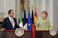 Roma, 22 Giugno 2012.Villa Madama.Vertice quadrilaterale su Eurozona con i leader di Italia, Francia, Germania e Spagna.Nella foto,Angela Merkel e Francois Hollande