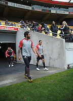 Manu Vatuvei walks onto the pitch during the NZ Warriors training session at Westpac Stadium, Wellington, New Zealand on Friday, 10 May 2013. Photo: Dave Lintott / lintottphoto.co.nz