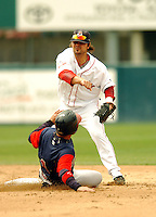 Travis Denker of the Pawtucket Red Sox, the AAA International League affiliate of the Boston Red Sox, at McCoy Stadium in Pawtucket, RI 5-2-09 (Photo by Ken Babbitt/Four Seam Images)