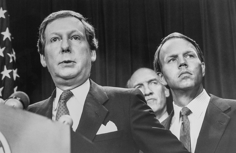 Sen. Mitch McConnell, R-Ky., Sen. Alan K. Simpson, R-Wyo., and Sen. Don Nickles, R-Okla., during a campaign reform press conference on May 3, 1990. (Photo by Laura Patterson/CQ Roll Call via Getty Images)