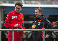 Mattia Binotto (ITA) (SCUDERIA FERRARI) Team principal and Christian HORNER (GBR) (ASTON MARTIN RED BULL RACING) Team principal during the Formula 1 Rolex British Grand Prix 2019 at Silverstone Circuit, Towcester, England on 14 July 2019. Photo by Vince  Mignott.
