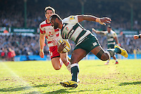 Vereniki Goneva of Leicester Tigers runs in a try in the second half. Aviva Premiership match, between Leicester Tigers and Gloucester Rugby on April 2, 2016 at Welford Road in Leicester, England. Photo by: Patrick Khachfe / JMP