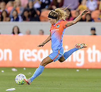 Rachel Daly (3) of the Houston Dash takes a shot at the Chicago Red Stars goal in the first half on Saturday, April 16, 2016 at BBVA Compass Stadium in Houston Texas.