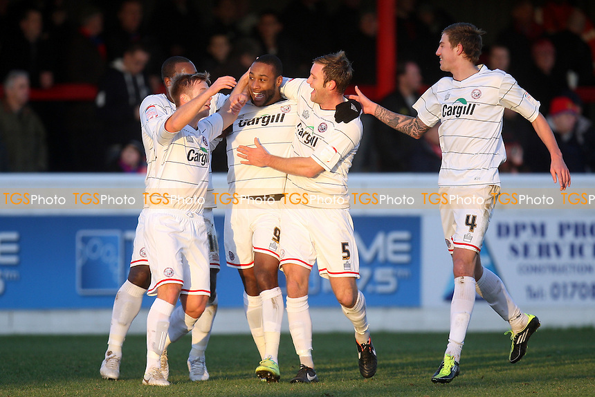 Yoann Arquin of Hereford United is congratulated for scoring the opening goal - Dagenham vs Hereford - at the London Borough of Barking and Dagenham Stadium - 14/01/12 - MANDATORY CREDIT: Dave Simpson/TGSPHOTO - Self billing applies where appropriate - 0845 094 6026 - contact@tgsphoto.co.uk - NO UNPAID USE.